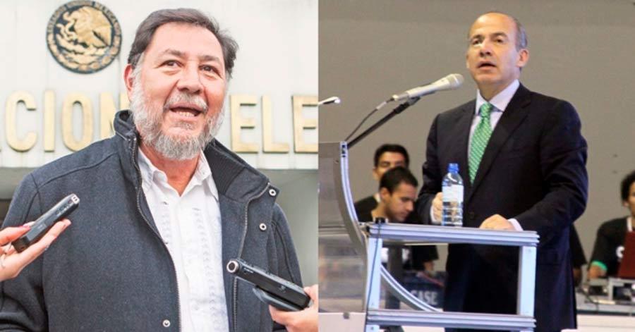 """Te llevo una botella para que te animes"": Reta Noroña a Calderón a un debate."
